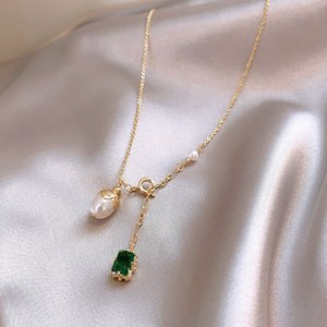 Hot Sale Fashion Jewelry Elegant Square Green Zircon Pearl Double Pendant Necklace Elegant Everyday Wild Necklace for women