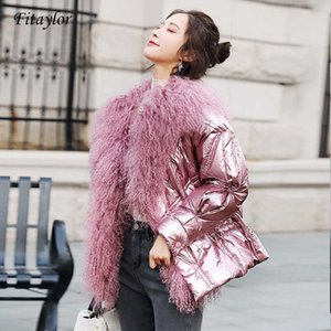 Women Parka Winter Silver White Duck Down Jacket Glossy 2020 Big Real Fur Collar Pink Blue Warm Parkas Female Short Duck Coats