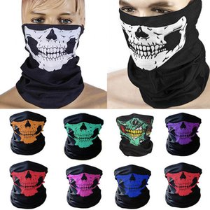 Fashion Skull Skeleton Mask Halloween Scarf Outdoor Motorcycle Bicycle Multi function Neck Warmer Ghost Half Face Mask Cosplay Chic Scraf