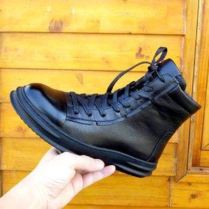 Winterstiefel männliche hohe kurze Aufladungen Schuhleder Rindleder Mann Kopf Schicht Englisch add Beflockung für Schuhe der Männer