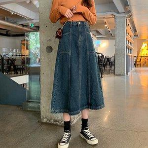 jCeFm ins guarda-chuva estilo de design denim meados de comprimento estilo coreano acadêmica solta A- saia de linha saia de linha vestido fashiona das mulheres Umbrella skirt-