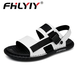 Fhlyiy Men Beach Outdoor Shoes Fashion Summer Sandals For Mens Black White Flats Men Sandals Pu Leather Walking Male