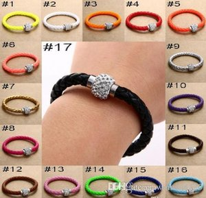 2019 Mix 17 colors New PU Leather Bracelet & CZ Disco Crystal Magnetic Clasp Bracelet Free Shipping
