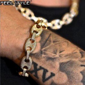 Multi-color Width Iced Out Rhinestoned 13MM 20CM Gold Gold Coffee Beans Link Chain Bracelets Chain For Men HIP Hop Jewelry