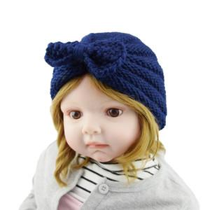 Kapaklar şapka çocuk yay yün şapka sonbahar ve kış sıcak pileli bebek örme