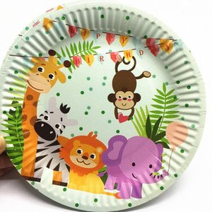 10pcs pack safari disposable plates safari theme birthday party decorations disposable party tableware UFIr#