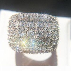 R para hombre de diamante simulado anillos de compromiso de la nueva joyería de alta calidad de la manera circón anillo de bodas de plata para las mujeres