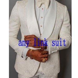 Neueste Design-One Button Elfenbein Paisley-Hochzeit Männer Anzüge Schal Revers Zwei Stücke Business-Bräutigam-Smoking (Jacket + Pants + Tie) W1281