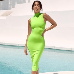 ADYCE 2020 New Summer Women Bandage Dress Sexy Sleeveless Green Tank Bodycon Club Dresses Celebrity Evening Party Dress Vestidos