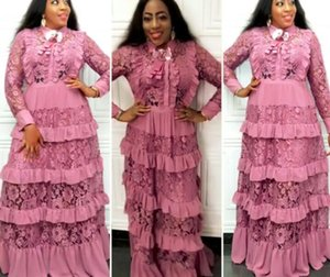 New Arrival Women Elegant Lace Tiered Cake Dresses Long Sleeve Turn Down Collar Maxi Plus Size Dress African Women Clothing P707