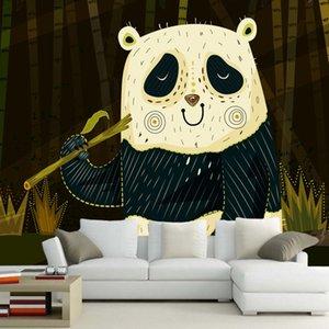 Papel de Parede Desenhos animados abstratos moderno panda ciranças 3d papel de parede mural, sofá livingom decoração papéis de parede casa quarto parede TV