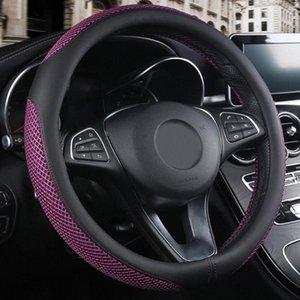 Cuero artificial de dirección Styling Interior del coche deslizamiento de las ruedas cubierta transpirable Protector anti resistente al desgaste Universal Fit 38cm U3Ug #