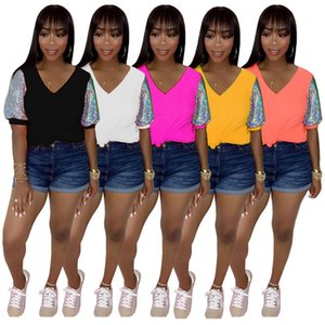 Womens T-shirt tshirt short sleeve tee fashion solid womens tops pullover short sleeve for ladies Tops klw4435
