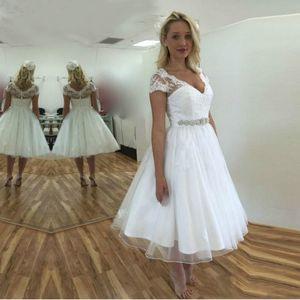 Cap Sleeves V Neck Tulle Tea Length Wedding Dresses 2021 White Beach Wedding Gowns Short Sleeve Bride Dress