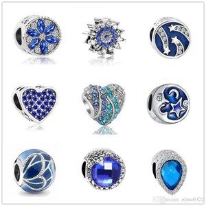 MOQ20pcs más nuevos libres del envío europeo de plata oscuro de la luna y la estrella azul gota de agua joyas sueltas DIY bolas pulsera apta Charm Pandora D019