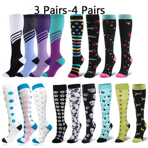 3 4 Pairs Multi Color Compression Stockings Leg Pressure Sports Travel Hot Sell Compress Socks Men Women Packaged For Sale