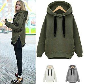 Felpe Donne Warm Felpe Green Side Zipper Hooded manica lunga con cappuccio Pullover pianura di alta qualità