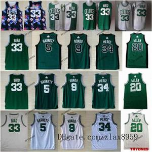 Boston Celtics VintageFloral Kevin Garnett 5 Ray Allen 20 Paul Pierce 34 Larry Bird 33 Rajon Rondonba 9 Green pallacanestro Jersey
