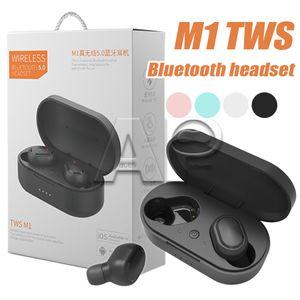 M1 TWS Bluetooth écouteurs sans fil Casque 5.0 Stero Oreillettes Intelligent Noise Cancelling Headphones portable pour téléphone portable intelligent