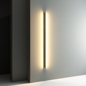 Fondo de la pared de la lámpara moderna lámpara de LED espejo Long Line Luz pared del dormitorio sala de estar de noche Lámparas de pared del pasillo del pasillo del accesorio ligero