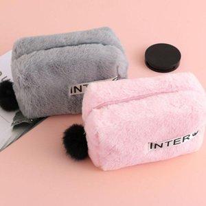 2019 Winter Fur Women Makeup Bag Soft Plush Cosmetic Bag Travel Zipper Pouch Storage Organizer Cosmetic Case Girls Handbag New T200301