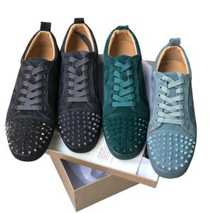 Homens mulheres de couro de camurça das sapatilhas dos homens Low Cut Spikes cristal partido Sneakers sapatos de fundo Spikes Red Shoes casamento ocasional Sports Shoes