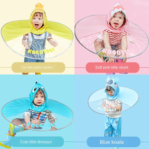 tQkEp UFO raincoat online popular children's raincoat boys' and girls' cloak-style poncho baby umbrella cap kindergarten children's and stud