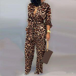 Donne Sexy pagliaccetto leopardo Legato Vita a maniche lunghe tuta Notte Indizio sexy tuta autunno nuova delle donne che coprono insieme