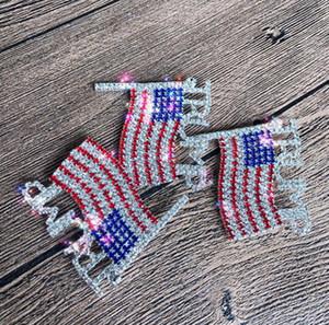 Trump Брошь Pin Алмазного флаг Брошь Rhinestone Письмо Trump брошь Кристалл Badge пальто платье Pins Одежда Ювелирные изделия GGA3593-7