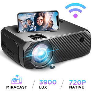 Mini Proyector GC555, 3900 LUMENS (opcional Android 6.0 WiFi), 1280 * 720p LED Proyector 3D Home Theatre