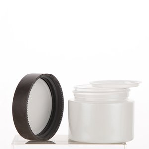 1.7oz 100pcs lot clear frosted cosmetic jar packaging with black wooden plastic lid on sale, empty cream container in stock
