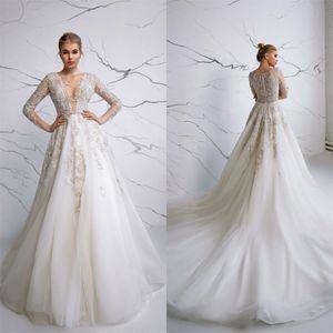 Eva Lendel 2020 Country Wedding Dresses Sexy V Neck Lace Appliqued Long Sleeve Garden Beach Bridal Gowns Vestido De Novia