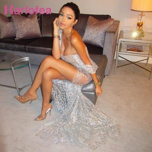 Karlofea Silver Cross Cut Out Strap Sequin Evening Party Split Dress Elegant One Shoulder Strapless Sexy Elegant Outfits Wear