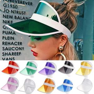 10 color del sombrero unisex del verano de neón de la visera parasol para el deporte del golf tenis con banda de sombreros casual transparente casquillo elástico chica protector solar DHF51 mayorista