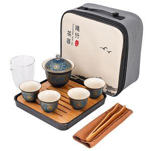 Japanese Tea Set portatile Teaware 1 teiera 4 Tazzine Kungfu Teiera Bollitore Viaggi ceramica Teaset Gaiwan Cinese Con Carry Bag