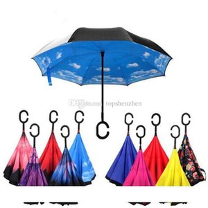 Windproof Reverse Folding Double Layer Inverted Chuva Umbrella Self Stand Inside Out Rain Protection C-Hook Hands For Car Rain Outdoor