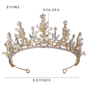 2020 Baroque new handmade crystal gold crown wedding hair accessories Hair band Princess King queen bride crown headdress HGZG002