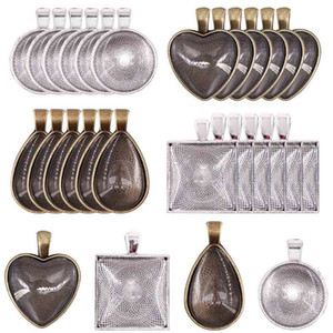 DIY Schmuck Accessoires Herz-Wasser-Tropfen Rund Tretlager Zeit Gem Sublimation Blank Anhänger für Hot Transferdruck Halskette