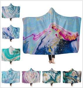 Psychedelic Art Marble Swirl blanket Gouache flowing gold Children Hooded Blanket Soft Warm Sherpa Fleece wearable Blankets for Kids New !