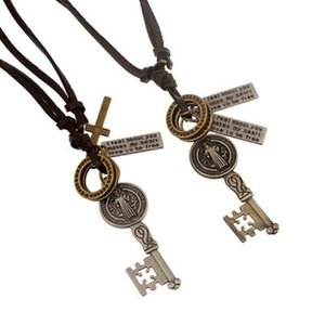 Vintage Key Pendant Leather Necklaces Cross Charm Long Chain European and American Statement Necklace Punk Jewelry Christmas Gift Wholesale