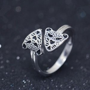 Wholesale leopard head ring adjustable European and American creative mustard jewelry for women