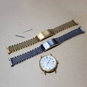 18 20mm Silbergold Uhrband Bands fest 316l Edelstahl mit hohlen Link Luxus Uhrenarmbänder Armband Verschluss Schnalle für Ome Omeg NEU