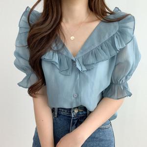 2020 صيف جديد منزعج طية صدر السترة القميص الشيفون المرأة البلوزات الكورية نمط أنيقة الحلو النفخة كم القمم أنثى Blusas