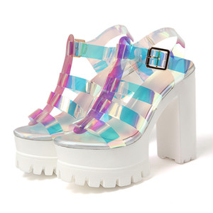 Sandals Super High Heel Grosso Salto das mulheres Dazzle Color Matching Oriente Top Fashion simples Versátil Personalidade Estilo americanos e europeus