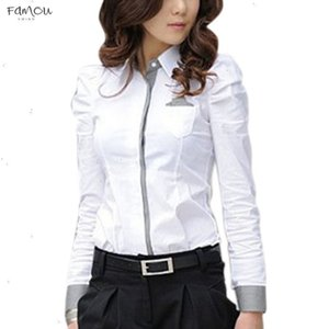 Fashion 2020 Women Office White Blouse Lady Formal Button Down Shirt Full Puff Sleeve Shirt Tops Little Pockets Business Blouse