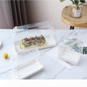 Environmentally friendly transparent cake roll box PET green plastic hand-held cheesecake box Swiss roll box XD22241