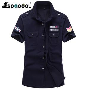 Soqoool Sommer Armee Tactical schnell trocken Kurzarm-Hemd-beiläufige Stickerei Pilot atmungsaktive Baumwolle Hemd
