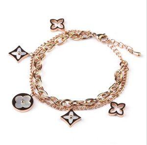 Mode Clover Bijoux Bracelet Designer pour femmes filles en acier inoxydable de haute qualité en or 18 carats Bracelets Charm or rose Drop Shipping