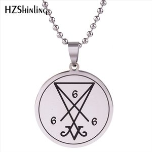 2020 New Stainless Steel Satanic Sigil Of Lucifer Baphomet Lilith Pentagram Pendant Necklace Satanism Jewelry Ball Chain HZ7