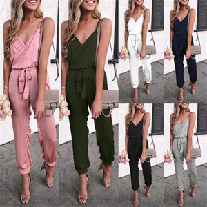 2020 New Clothing Cheap China wholesale European and American Women's Jumpsuits & Rompers Sexy Solid color suspender belt jumpsuit